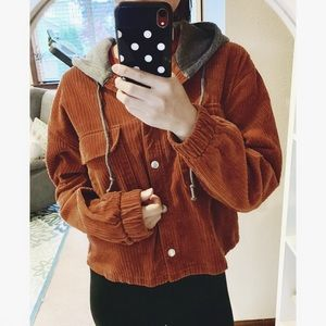 Forever 21 Corduroy Hooded Jacket In Rust
